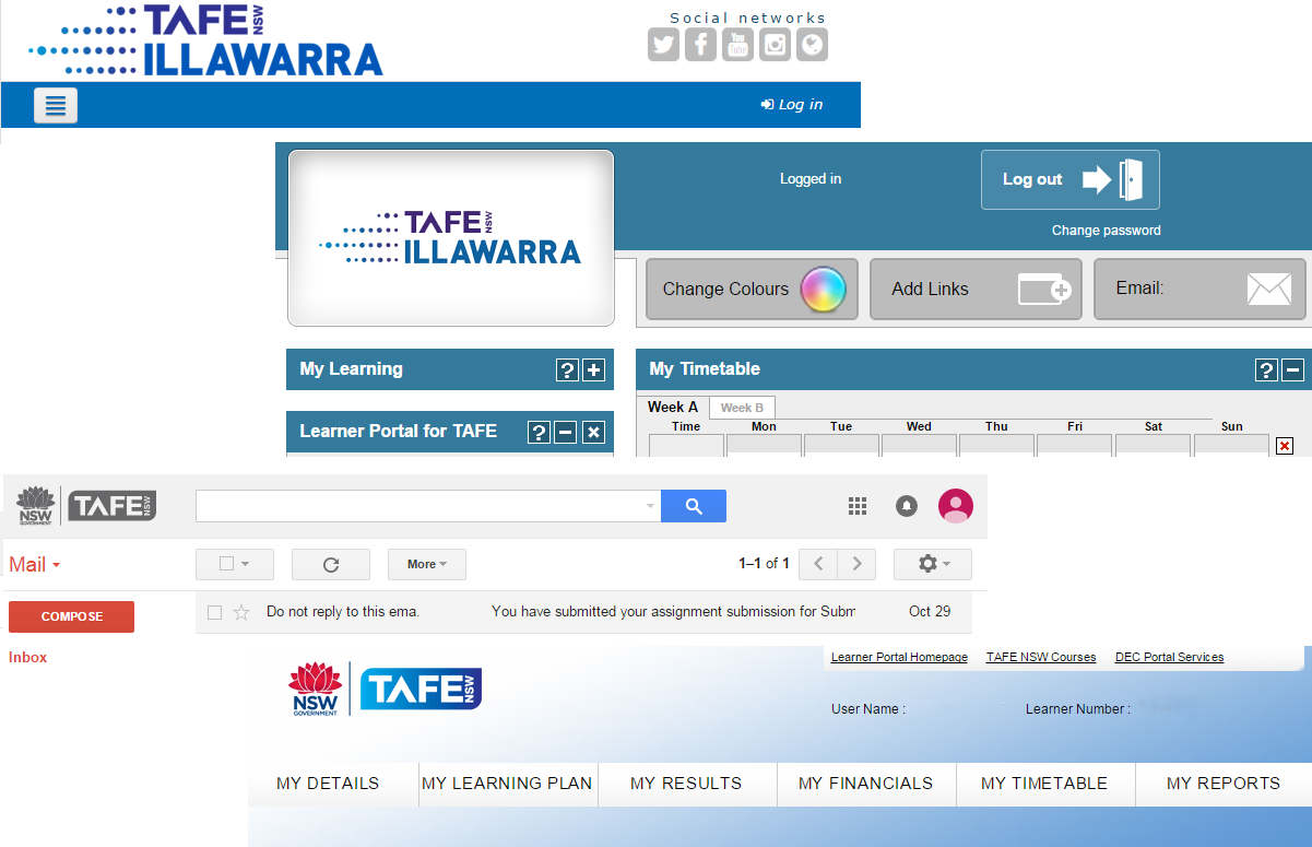 A selection of screen shots identifying the TAFE Illawarra moodle, student portal, learner portal and student email.