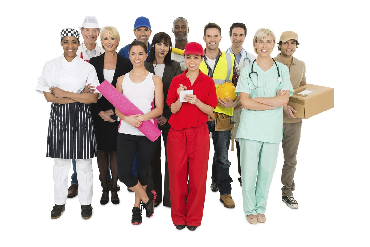A variety of people wearing the standard clothing for various careers. Careers displayed include nurse, personal trainer, chef, butcher, painter, call center worker, builder.